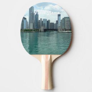 Illinois Skyline Ping-Pong Paddle