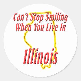 Illinois - sonriendo etiquetas redondas