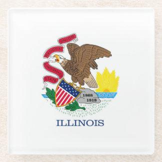 Illinois State Flag Design Decor Glass Coaster