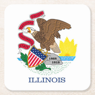 Illinois State Flag Design Square Paper Coaster