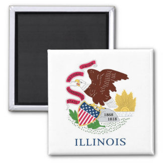 Illinois State Flag 2 Inch Square Magnet