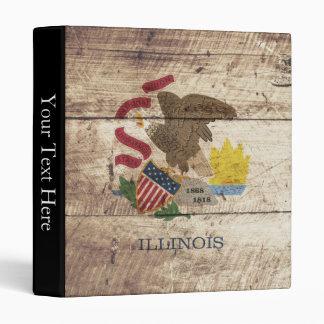 Illinois State Flag on Old Wood Grain Binder