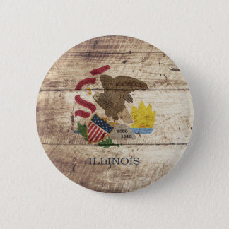 Illinois State Flag on Old Wood Grain Pinback Button