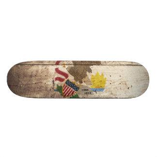 Illinois State Flag on Old Wood Grain Skateboard Decks