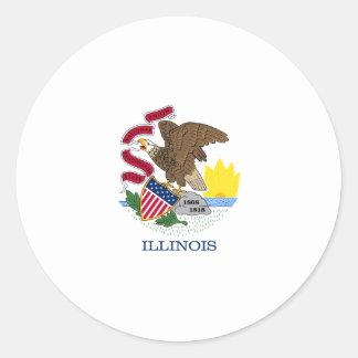 Illinois State Flag Round Stickers