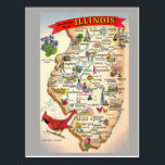 "Illinois State Map Postcard<br><div class=""desc"">Illinois State Map</div>"