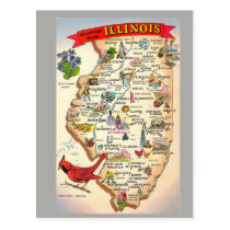Illinois State Map Postcard