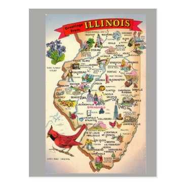 normagolden Illinois State Map Postcard