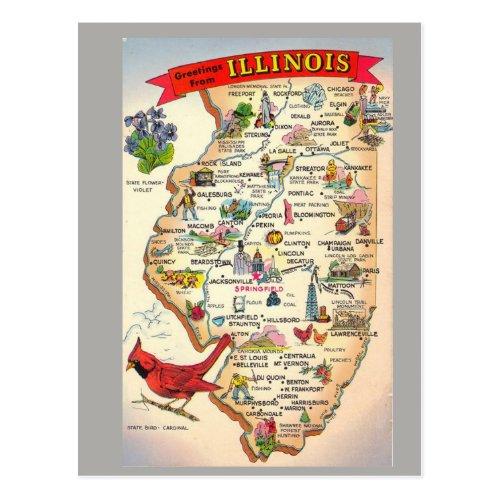 Illinois State Map Postcard