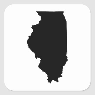 Illinois State Outline Square Sticker