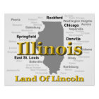 Illinois State Pride Map Silhouette Poster