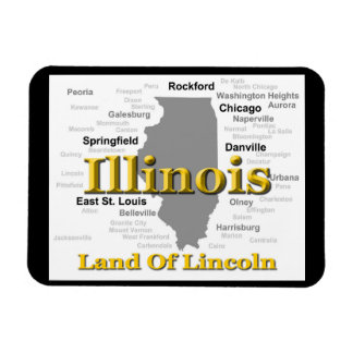 Illinois State Pride Map Silhouette Rectangular Magnet