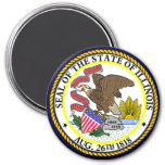 Illinois State Seal 3 Inch Round Magnet