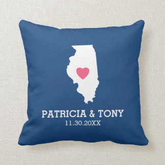 Illinois State with Custom Heart and Family Name Throw Pillow