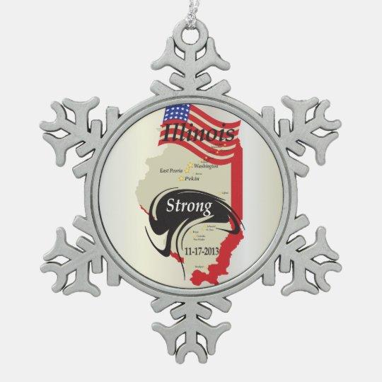 Illinois Strong Tornado November 17, 2013 Snowflake Pewter Christmas Ornament