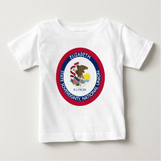 Illinois The Prairie State Personalized Flag Baby T-Shirt