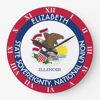 Illinois The Prairie State Personalized Flag Large Clock