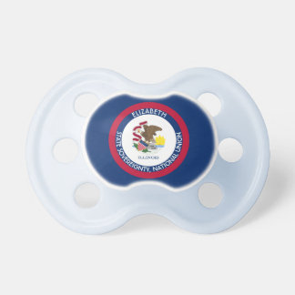Illinois The Prairie State Personalized Flag Pacifier