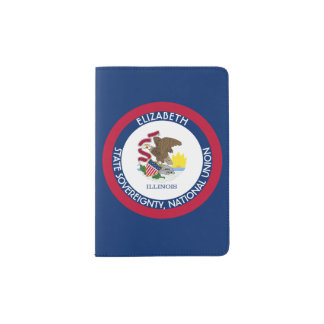 Illinois The Prairie State Personalized Flag Passport Holder
