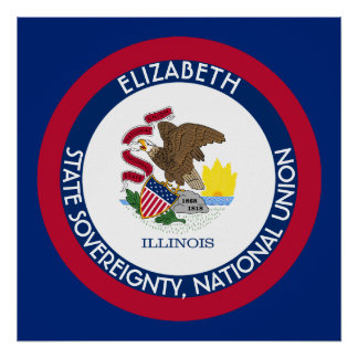 Illinois The Prairie State Personalized Flag Poster