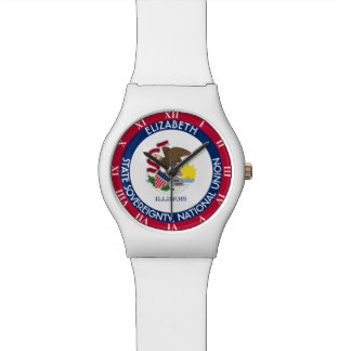 Illinois The Prairie State Personalized Flag Wristwatches