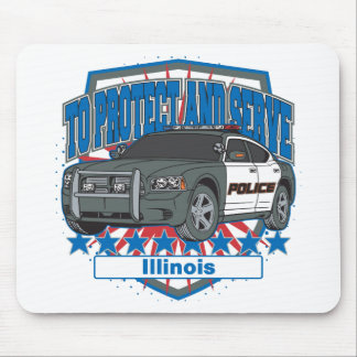 Illinois To Protect and Serve Police Squad Car Mouse Pad