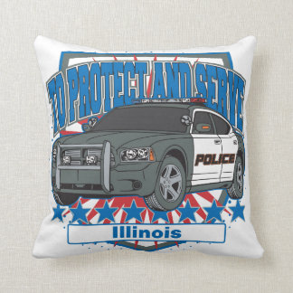 Illinois To Protect and Serve Police Squad Car Pillow