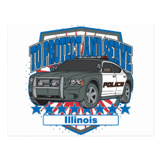 Illinois To Protect and Serve Police Squad Car Postcard