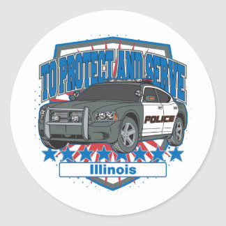 Illinois To Protect and Serve Police Squad Car Round Sticker