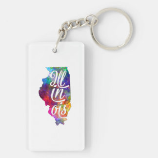 Illinois U.S. State in watercolor text cut out Keychain