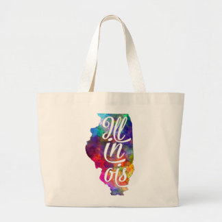 Illinois U.S. State in watercolor text cut out Large Tote Bag