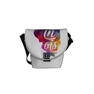 Illinois U.S. State in watercolor text cut out Messenger Bag