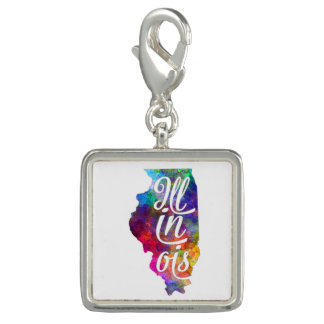 Illinois US State in watercolor text cut out Dije