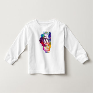 Illinois US State in watercolor text cut out Remera