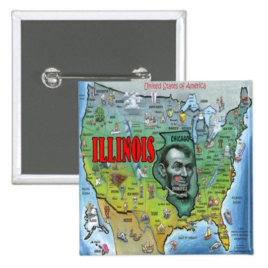 Illinois USA Map Button