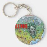 Illinois USA Map Key Chain