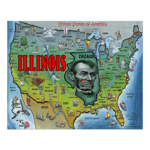 Illinois USA Map Poster