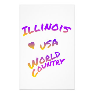 Illinois usa World Country, colorful text art Stationery