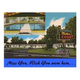 Illinois, Wallace Motor Court, Effingham Postcard