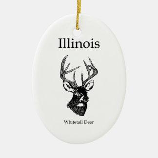 Illinois White Tail Deer Ceramic Ornament
