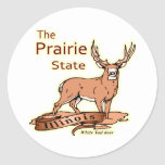 Illinois White Tailed Deer Fade Classic Round Sticker