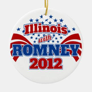 Illinois with Romney 2012 Ceramic Ornament