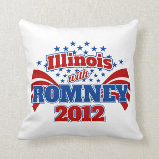 Illinois with Romney 2012 Throw Pillow
