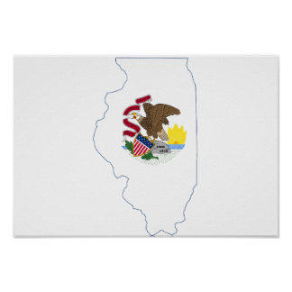 Illinoise State Flag and Map Poster