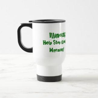 IllinoisGoGreen.org, Change Your Thinking!, Hel... 15 Oz Stainless Steel Travel Mug