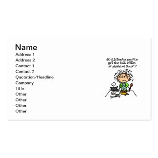 Illiterate People Humor Business Card Template