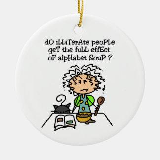 Illiterate People Humor Christmas Ornaments