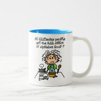 Illiterate People Humor Two-Tone Coffee Mug