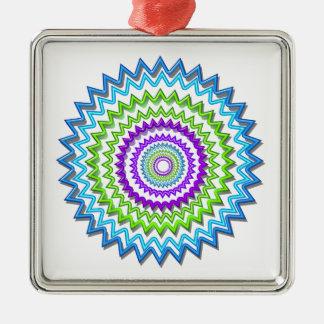Illuminate BlueStar Chakra - Purple at Heart Square Metal Christmas Ornament
