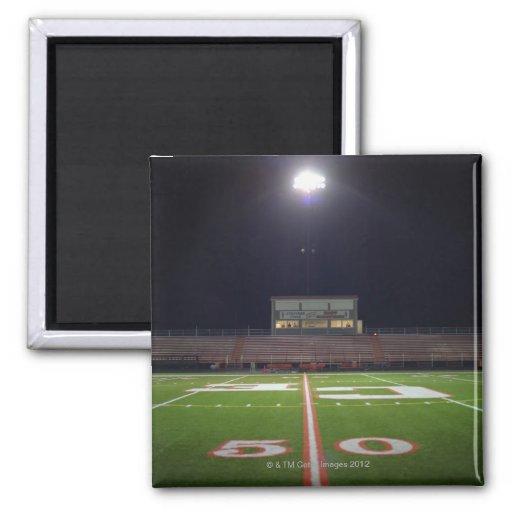 Illuminated American football field at night Refrigerator Magnet
